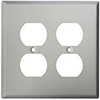 Mulberry, 97802, 2 Gang 2 Duplex Receptacle, Jumbo, Stainless Steel, Wall Plate
