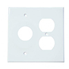 Mulberry. 86842, 2 Gang 1 Duplex Receptacle 1 Single Receptacle, Jumbo, Metal, White, Wall Plate