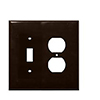Mulberry, 91532, 2 Gang 1 Duplex Receptacle 1 Toggle Switch Lexan, Brown, Wall Plate