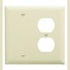 Mulberry, 92542, 2 Gang 1 Duplex Receptacle 1 Blank, Lexan, Ivory, Wall Plate