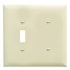 Mulberry, 92522, 2 Gang 1 Toggle Switch 1 Blank, Lexan, Ivory, Wall Plate