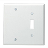 Mulberry, 90522, 2 Gang 1 Toggle Switch 1 Blank, Lexan, White, Wall Plate