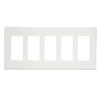 Leviton, 5-Gang Decora Plus Screwless Snap-On Wallplate, 80321-SW