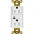 Lutron, CAR2S-15-STR-LA, Split Receptacles Light Almond, M77870