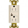 Lutron, CAR2S-20-STR-LA, Split Receptacles Light Almond, M77879