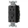 Hubbell, GFRST20BK, Self Test GFCI Receptacle, Black, M77982