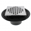 "Jones Stephens, D50134 CP SQUARE,4"" Shower Drain/Floor Drain Chrome Plated Cast, Square Strainer, PVC, M78292"