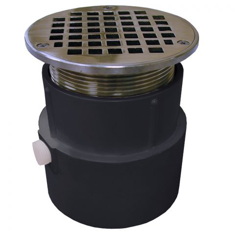"""Jones Stephens, D53046, 4"""" PVC Over Pipe Fit Drain Base with 3-1/2"""" Metal Spud and 5"""" Chrome Plated Strainer, M78330"""