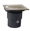 """Jones Stephens, D59900, 3"""" x 4"""" PVC Pipe Fit Drain Base with 3-1/2"""" Plastic Spud and 5"""" Nickel Bronze Strainer, M78331"""