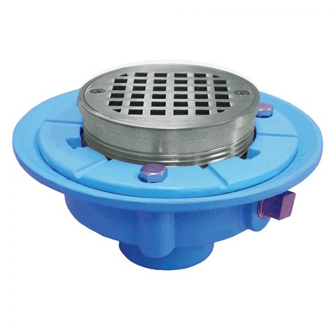 """Jones Stephens, D65602, 4"""" No Hub Code Blue Floor Drain with 7"""" Pan and 5"""" Chrome Plated Round Strainer- Height 3-1/2""""- 4-3/4"""", M78332"""