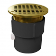 """Jones Stephens, D53027, 3"""" x 4"""" PVC Pipe Fit Drain Base with 3-1/2"""" Metal Spud and 5"""" Polished Brass Strainer,M78337"""