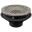 """Jones Stephens, D50800, 2"""" x 3"""" PVC Shower Drain/Floor Drain with Brass Tailpiece and 6"""" Chrome Plated Round Strainer , M78341"""