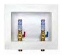 IPS, 85703, 1/2in Sweat Connection DU-All Dual-Drain Washing Outlet Box with Brass 1/4 Turn Hammer Arrester Valve Installed, M78809