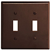 Mulberry, 91072, 2 Gang 2 Toggle Switch Lexan, Brown, Wall Plate