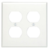 Mulberry, 86802, 2 Gang 2 Duplex Receptacle, Jumbo, Metal, White, Wall Plate