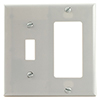Mulberry, 86865, 2 Gang 1 Toggle Switch 1 Decora/GFI, Jumbo, Metal, White, Wall Plate