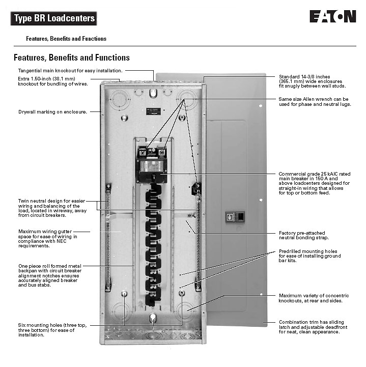 Eaton Cutler Hammer Ch12l125b Single Phase Main Lug Load: Cutler-Hammer, BR Loadcenter, 34242DSN