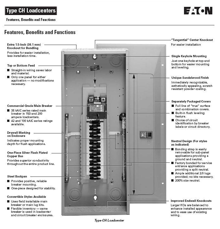 Eaton Cutler Hammer Ch12l125b Single Phase Main Lug Load: Cutler-Hammer, CH Loadcenter, CH32L150D