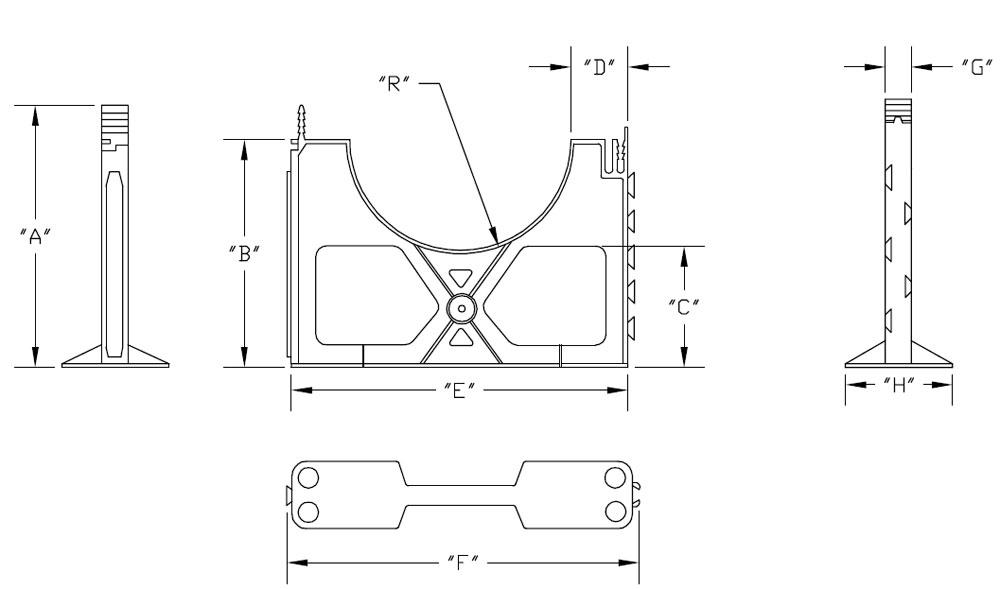pvc  base spacers  4 u0026quot  pipe size  1 u0026quot  separation  schedule 40