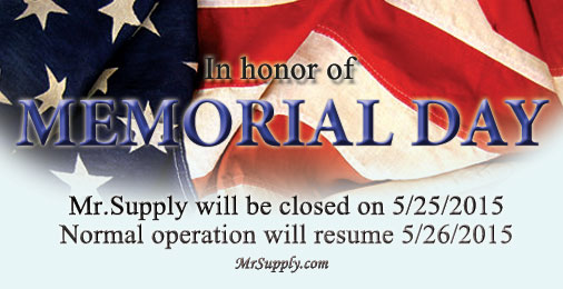 Memorial day shipping info